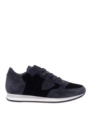 PHILIPPE MODEL: sneakers - Sneaker Tropez in velluto e camoscio blu