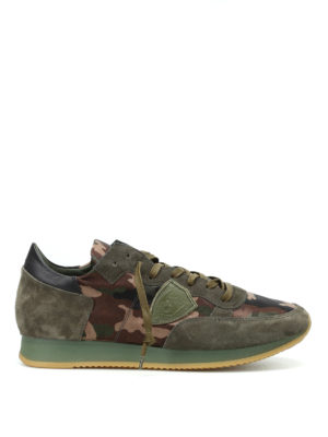 Philippe Model: trainers - Tropez dark green camu sneakers