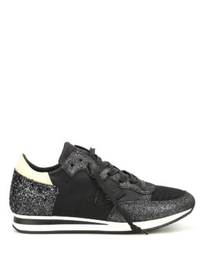 Philippe Model: trainers - Tropez glitter detailed sneakers