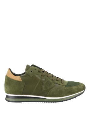 PHILIPPE MODEL: sneakers - Sneaker Tropez verdi in pelle e camoscio