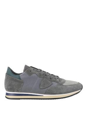 PHILIPPE MODEL: sneakers - Sneaker Tropez grigie in pelle e camoscio