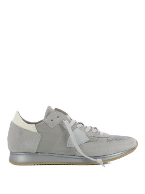 Philippe Model: trainers - Tropez grey nylon & suede sneakers
