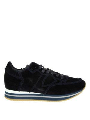PHILIPPE MODEL: sneakers - Sneaker Tropez Higher in velour bleu
