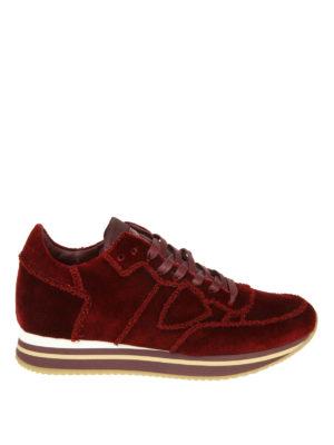 PHILIPPE MODEL: sneakers - Sneaker Tropez Higher in velour rouge