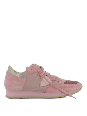 Philippe Model: trainers - Tropez pink suede & nylon sneakers