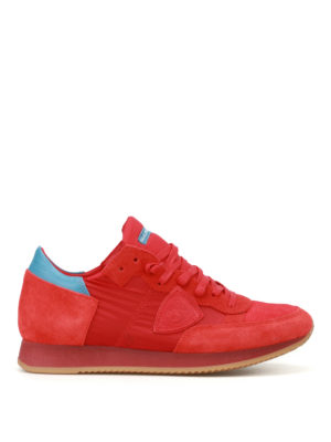 Philippe Model: trainers - Tropez red nylon and suede sneakers