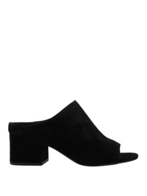 Phillip Lim: mules shoes - Cube black suede open toe mules