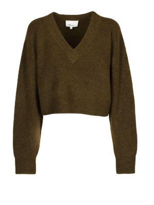 PHILLIP LIM: maglia collo a v - Pull corto a V in lana e alpaca verde bosco