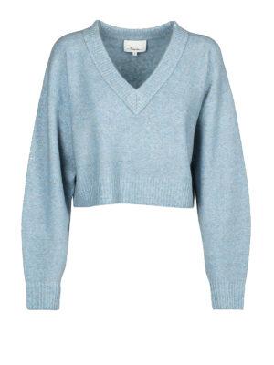 PHILLIP LIM: maglia collo a v - Pull corto a V in lana e alpaca azzurro