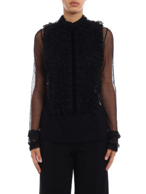 Philosophy di Lorenzo Serafini: blouses online - Ruched lace front tulle blouse