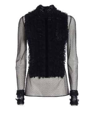 Philosophy di Lorenzo Serafini: blouses - Ruched lace front tulle blouse