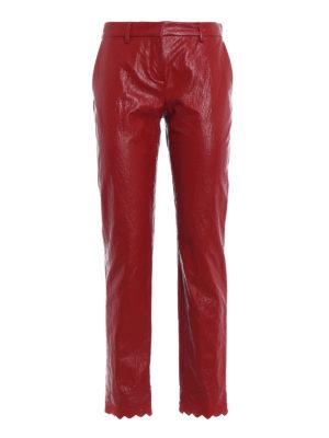 Philosophy di Lorenzo Serafini: pantaloni casual - Pantaloni in finta pelle con fondo ricamato