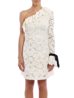 Philosophy di Lorenzo Serafini: cocktail dresses online - Frilled lace one-shoulder dress