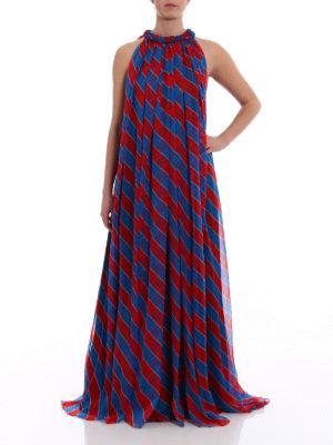 Philosophy di Lorenzo Serafini: cocktail dresses online - Oblique striped silk long dress