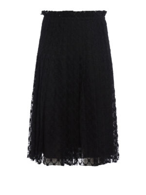 Philosophy di Lorenzo Serafini: Knee length skirts & Midi - Flared and pleated lace skirt