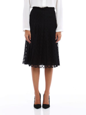 Philosophy di Lorenzo Serafini: Knee length skirts & Midi online - Flared and pleated lace skirt