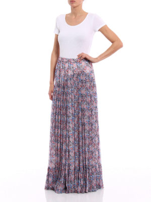 Philosophy di Lorenzo Serafini: Long skirts online - Floral patterned pleated long skirt