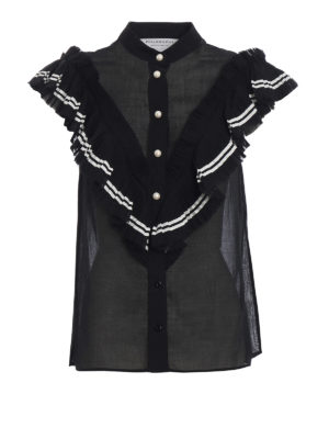 Philosophy di Lorenzo Serafini: shirts - Pearl button muslin ruffled shirt