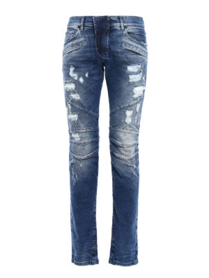 Pierre Balmain: straight leg jeans - Biker inspired distressed jeans