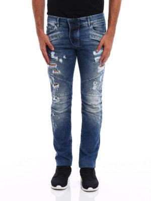 Pierre Balmain: straight leg jeans online - Biker inspired distressed jeans