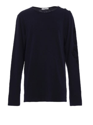 Pierre Balmain: t-shirts - Long sleeve blue cotton T-shirt