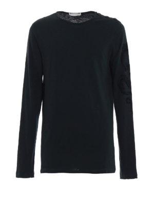 Pierre Balmain: t-shirts - Long sleeve green cotton T-shirt