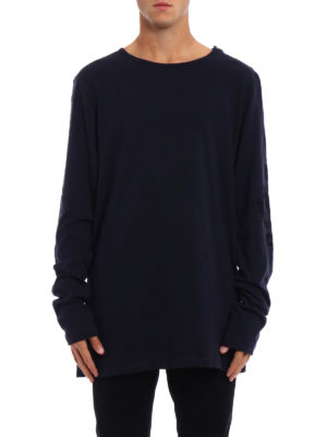 Pierre Balmain: t-shirts online - Long sleeve blue cotton T-shirt