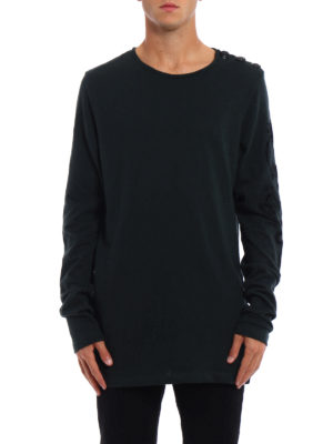 Pierre Balmain: t-shirts online - Long sleeve green cotton T-shirt