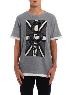 Pierre Balmain: t-shirts online - Wool and cotton embroidered T-shirt