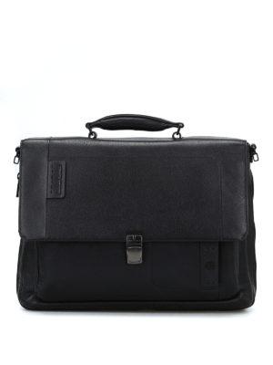 PIQUADRO: borse da ufficio - Cartella nera in pelle a grana