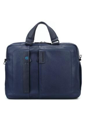 PIQUADRO: borse da ufficio - Porta computer in nappa blu