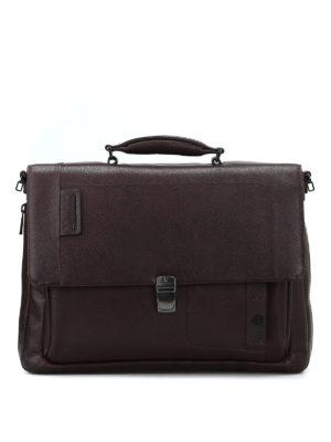 PIQUADRO: borse da ufficio - Cartella in pelle a grana marrone