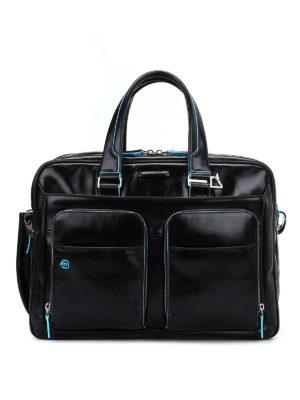 PIQUADRO: borse da ufficio - Borsa nera in pelle spazzolata