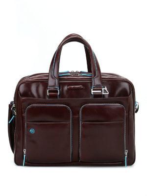 PIQUADRO: borse da ufficio - Borsa marrone in pelle spazzolata