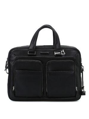 PIQUADRO: borse da ufficio - Cartella nera in vitello bottalato