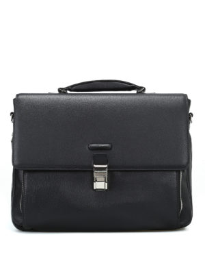 PIQUADRO: borse da ufficio - Cartella nera in vitello pregiato