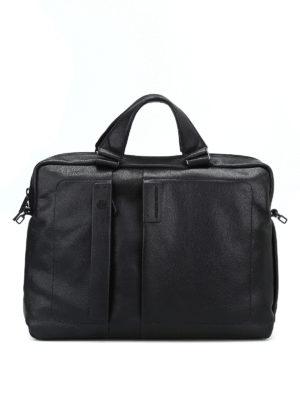 PIQUADRO: borse da ufficio - Porta laptop nero in pelle a grana