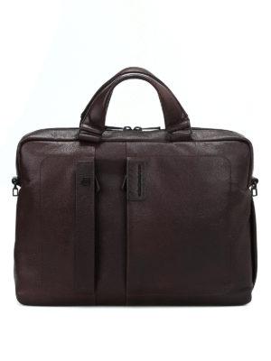 PIQUADRO: borse da ufficio - Cartella marrone in pelle a grana