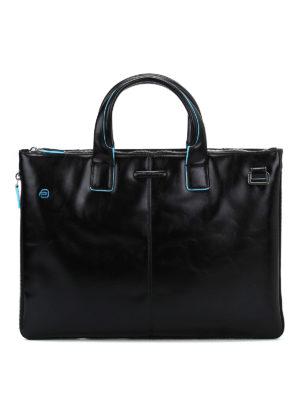 PIQUADRO: borse da ufficio - Borsa in pelle con piping azzurro