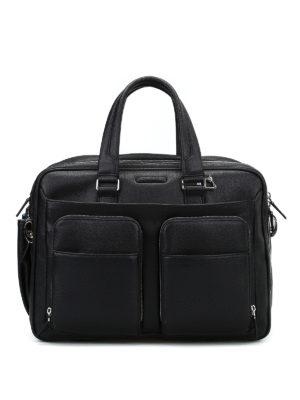 PIQUADRO: borse da ufficio - Ventiquattrore nera in pelle