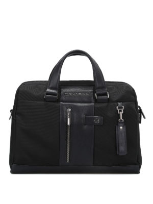 PIQUADRO: borse da ufficio - Borsa in tessuto impermeabile nero