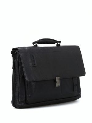 PIQUADRO: borse da ufficio online - Cartella nera in pelle a grana