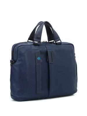 PIQUADRO: borse da ufficio online - Porta computer in nappa blu