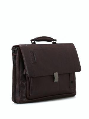 PIQUADRO: borse da ufficio online - Cartella in pelle a grana marrone