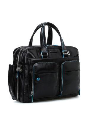 PIQUADRO: borse da ufficio online - Borsa nera in pelle spazzolata