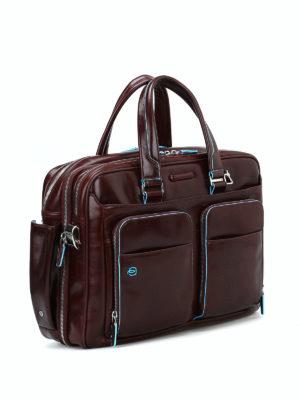 PIQUADRO: borse da ufficio online - Borsa marrone in pelle spazzolata