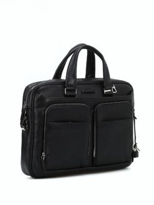 PIQUADRO: borse da ufficio online - Cartella nera in vitello bottalato