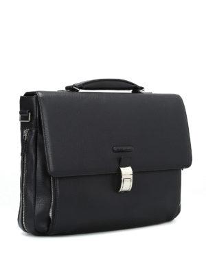 PIQUADRO: borse da ufficio online - Cartella nera in vitello pregiato