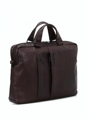 PIQUADRO: borse da ufficio online - Cartella marrone in pelle a grana