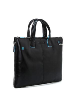 PIQUADRO: borse da ufficio online - Borsa in pelle con piping azzurro